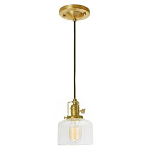 Union Square Satin Brass Clear Glass One-Light Mini Pendant