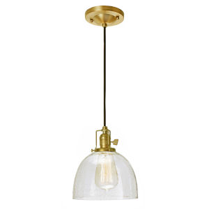 Union Square Satin Brass Clear Bubble Glass Seven-Inch One-Light Mini Pendant