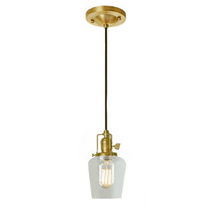 Union Square Satin Brass Clear Glass Five-Inch One-Light Mini Pendant