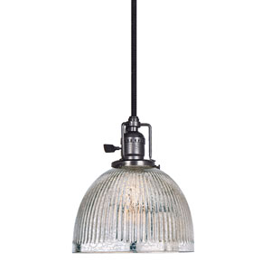 Union Square Gun Metal One-Light Mini Pendant with Mercury Glass
