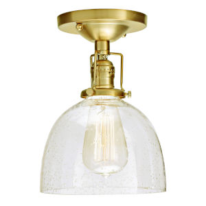 Union Square Satin Brass Clear Bubble Glass Seven-Inch One-Light Semi Flush Ceiling Mount