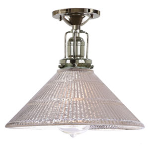 Union Square Polished Nickel One-Light Semi Flush Mount with Mercury Glass