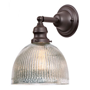 Union Square Oil Rubbed Bronze One-Light Wall Sconce with Mercury Glass