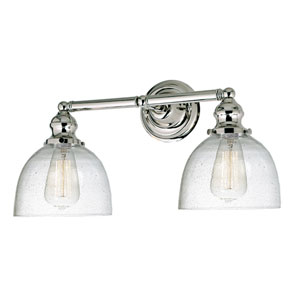 Union Square Polished Nickel Two-Light Bath Vanity with Bubble Glass