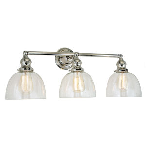 Union Square Polished Nickel Clear Bubble Glass 27-Inch Three-Light Bath Vanity