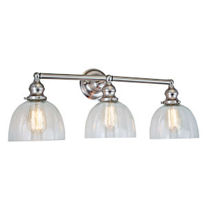 Union Square Satin Nickel Clear Bubble Glass 27-Inch Three-Light Bath Vanity