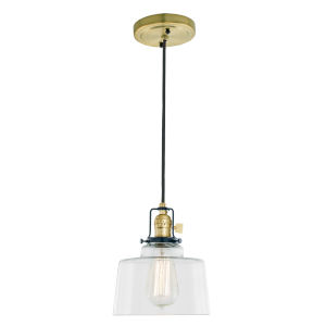 Nob Hill Buffy Satin Brass and Black One-Light Mini Pendant