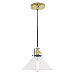Nob Hill Bailey Satin Brass and Black One-Light Pendant with Clear Bubble Glass