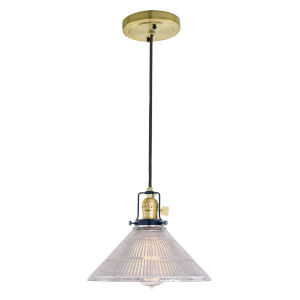 Nob Hill Bailey Satin Brass and Black One-Light Pendant with Mercury Glass
