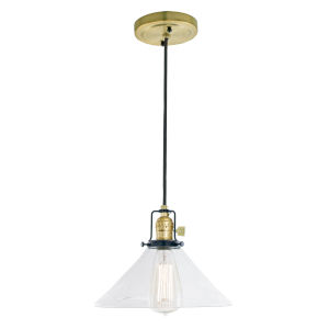 Nob Hill Bailey Satin Brass and Black One-Light Pendant