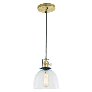 Nob Hill Bailey Satin Brass and Black One-Light Mini Pendant with Clear Bubble Glass