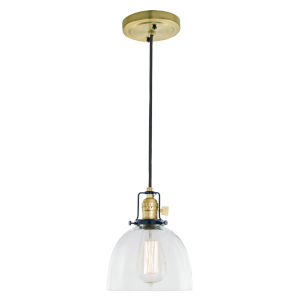 Nob Hill Madison Satin Brass and Black One-Light Mini Pendant