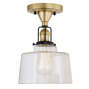 Nob Hill Buffy Satin Brass and Black One-Light Semi Flush Mount