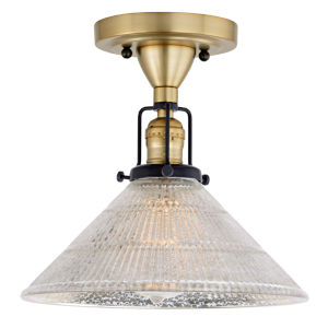 Nob Hill Bailey Satin Brass and Black One-Light Semi Flush Mount with Mercury Glass