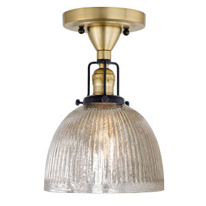 Nob Hill Madison Satin Brass and Black One-Light Semi Flush Mount with Mercury Glass
