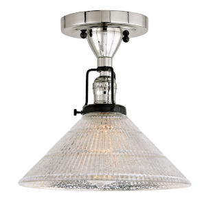Nob Hill Bailey Polished Nickel and Black One-Light Semi Flush Mount with Mercury Glass
