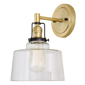 Nob Hill Buffy Satin Brass and Black One-Light Wall Sconce