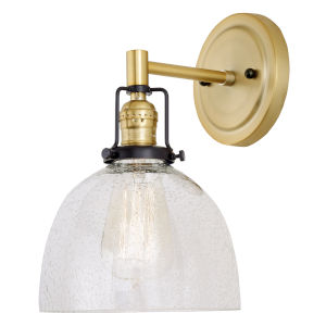 Nob Hill Madison Satin Brass and Black One-Light Wall Sconce with Clear Bubble Glass