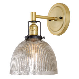 Nob Hill Madison Satin Brass and Black One-Light Wall Sconce with Mercury Glass