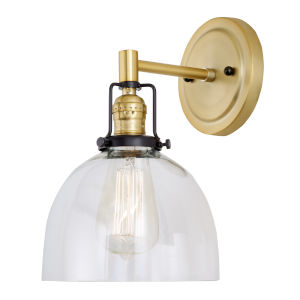 Nob Hill Madison Satin Brass and Black One-Light Wall Sconce