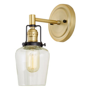 Nob Hill Liberty Satin Brass and Black One-Light Wall Sconce