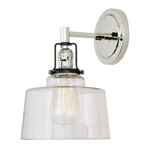 Nob Hill Buffy Polished Nickel and Black One-Light Wall Sconce