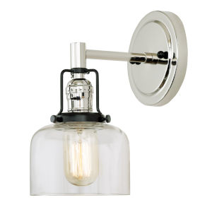 Nob Hill Shyra Polished Nickel and Black One-Light Wall Sconce