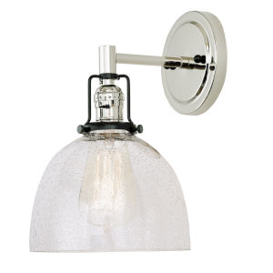 Nob Hill Madison Polished Nickel and Black One-Light Wall Sconce with Clear Bubble Glass