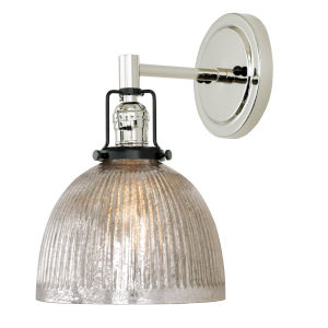 Nob Hill Madison Polished Nickel and Black One-Light Wall Sconce with Mercury Glass