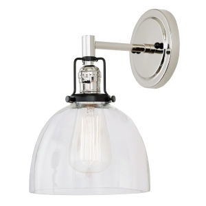 Nob Hill Madison Polished Nickel and Black One-Light Wall Sconce