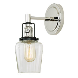 Nob Hill Liberty Polished Nickel and Black One-Light Wall Sconce