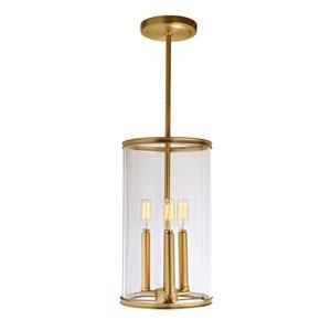 Gramercy Satin Brass Three-Light Mini Pendant