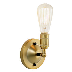 Bedford Satin Brass and Black One-Light Wall Sconce