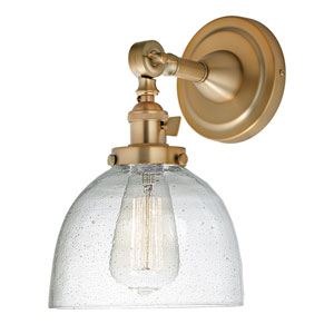 Soho Satin Brass One-Light Wall Sconce with Bubble Glass