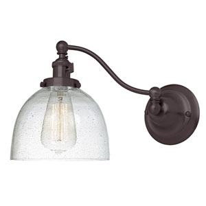 Soho Oil Rubbed Bronze One-Light Swing Arm Wall Sconce with Bubble Glass