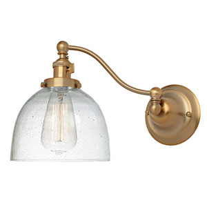 Soho Satin Brass One-Light Swing Arm Wall Sconce with Bubble Glass