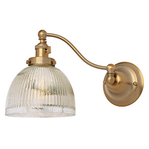 Soho Satin Brass One-Light Swing Arm Wall Sconce with Mercury Glass