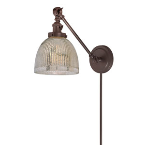 Soho Oil Rubbed Bronze One-Light Swing Arm Wall Sconce with Mercury Glass