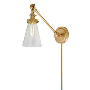 Soho Satin Brass One-Light Swing Arm Wall Sconce