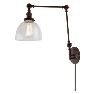 Soho Madison Oil Rubbed Bronze One-Light Swing Arm Wall Sconce with Clear Bubble Glass