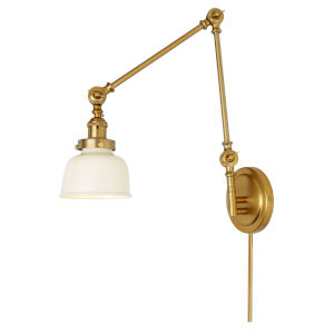 Soho M2 Satin Brass and Ivory One-Light Swing Arm Wall Sconce