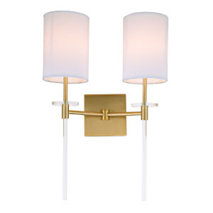 Sutton Satin Brass 14-Inch Two-Light Wall Sconce