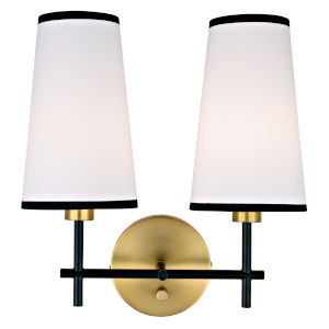 Bellevue Satin Brass and Black Two-Light Wall Sconce