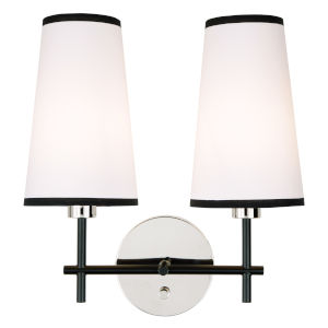 Bellevue Polished Nickel and Black Two-Light Wall Sconce
