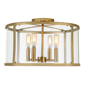 Bryant Satin Brass 16-Inch Four-Light Flush Ceiling Mount