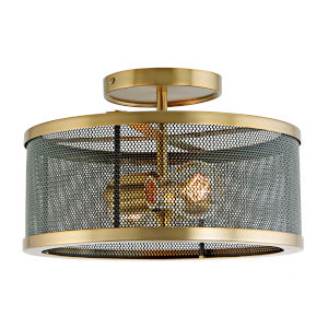 Wellington Satin Brass and Black Two-Light Semi Flush Mount