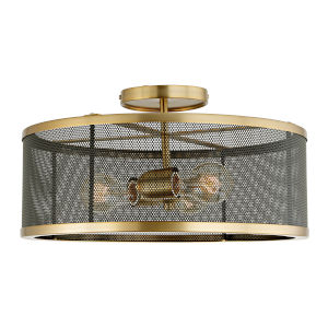 Wellington Satin Brass and Black Three-Light Semi Flush Mount