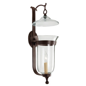 Large Oil Rubbed Bronze One-Light Bell Wall Sconce with Star Glass