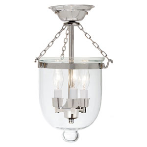 Small Polished Nickel Three-Light Bell Semi-Flush with Clear Glass
