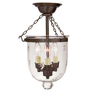 Small Oil Rubbed Bronze Three-Light Bell Semi-Flush with Star Glass